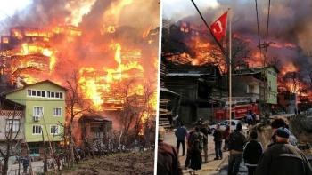 حريق هائل بأرتفين