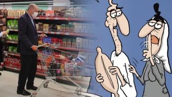 أردوغان في الأسواق التركية- صورة كاريكاتورية