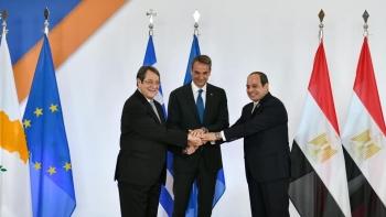 السيسي مع رئيسي اليونان وقبرص
