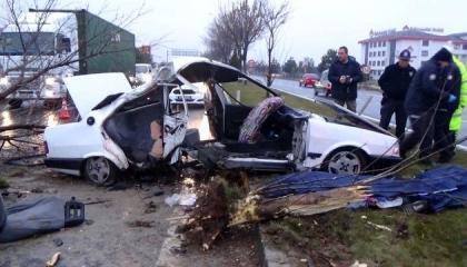 مصرع تركيين وإصابة 3 آخرين بحادث تصام سيارة في عمود كهرباء وشجرة
