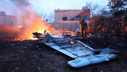 سوريا تُسقط طائرة تركية في منطقة داديخ بريف إدلب الجنوبي