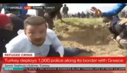 مراسل TRTالتركية: الشرطة اليونانية تطلق النيران علينا