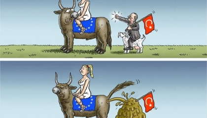 أوروبا تهين أردوغان بسبب تهديداته عبر كاريكاتير ساخر