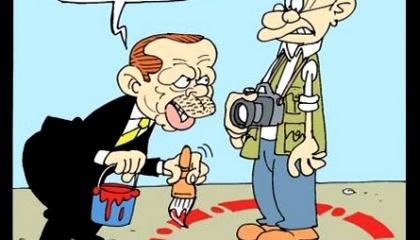 كاريكاتير تركي يسخر من «حرية الصحافة» في تركيا