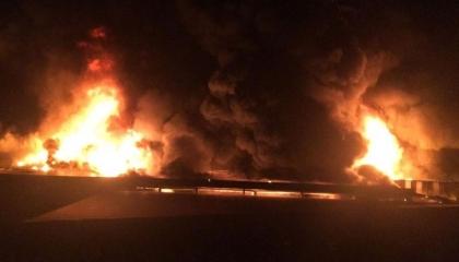 حريق هائل في مخزن مأكولات باردة بمدينة أنطاليا  التركية