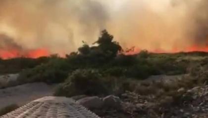 حريق هائل في مقاطعة ألاتشاتي بمدينة إزمير التركية