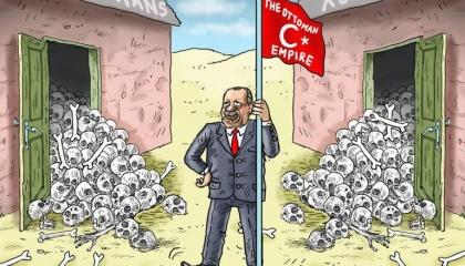 كاريكاتير تركي يفضح «السفاح أردوغان» ومذابحه بسوريا وأرمينيا