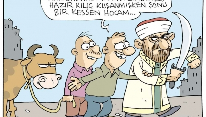 كاريكاتير تركي يسخر من سيف أرباش: أعطينا إياه لنذبح الخروف!