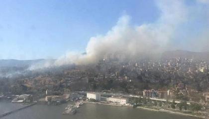 اندلاع حريق في حديقة عسكرية في إزمير التركية