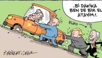 كاريكتر تركي يسخر من موقف أردوغان حيال بايدن