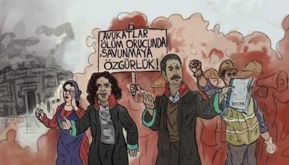 كاريكاتير تركي: رويدًا رويدًا...أردوغان يدفع المحامين إلى حافة الموت
