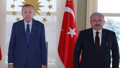 أردوغان  يلتقي رئيس البرلمان التركي في اجتماع مغلق