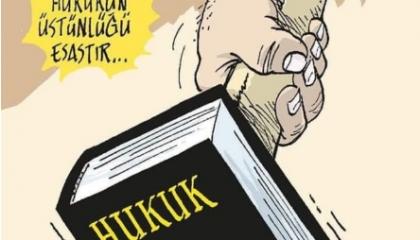 كاريكاتير تركي: أردوغان وحزبه  يا سادة قضوا على العدالة بممحاة!