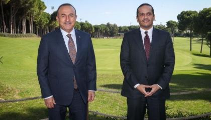 وزير الخارجية التركي يستقبل نظيره القطري لبحث تعزيز التعاون بين البلدين