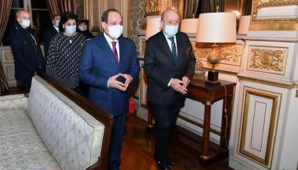 السيسي ولودريان يؤكدان أهمية دعم مسارات الحوار بين العالم العربي وأوروبا