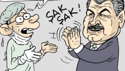 كاريكاتير تركي: الأطباء بوجه مدفع كورونا.. وحكومة أردوغان في «لا لا لاند»!
