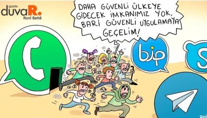 كاريكاتير تركي: بدلًا من «واتساب»... كن تحت رقابة تطبيقات أردوغان!