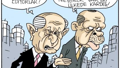 كاريكاتير: المواطنين الأتراك في نظر أردوغان وحليفه الأصغر «ممثلين»!