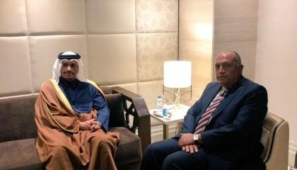 وزير الخارجية المصري يلتقي نظيره القطري