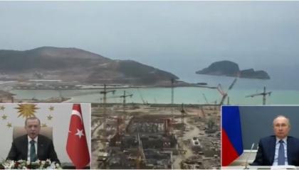 أردوغان وبوتين يدشنان المفاعل النووي الثالث بمحطة «أكويو» بمدينة مرسين