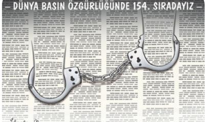 كاريكاتير تركي: في عهد أردوغان.. الأصفاد مصير الصحف التركية المعارضة!