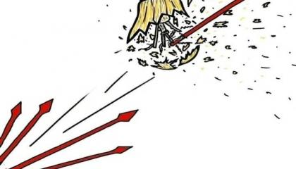 كاريكاتير: سهام «الشعب» تمحي حزب العدالة والتنمية