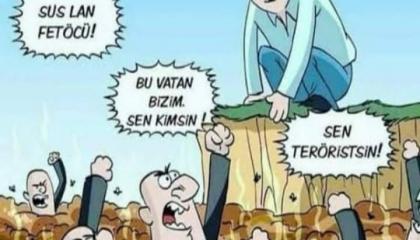 كاريكاتير: كل من ينتقد أردوغان وحكومته خائن للوطن!