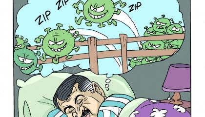 كاريكاتير تركي: وزير أردوغان ينام.. وكورونا تضرب بلا رحمة تركيا!
