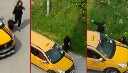 بالفيديو.. سائق تاكسي تركي يتعقب سيدة ويتعمد صدمها بسيارته