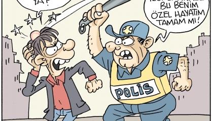 كاريكاتير تركي: شرطة أردوغان تفعل ما يحلو لها.. ولا يحق لأحد الاعتراض!