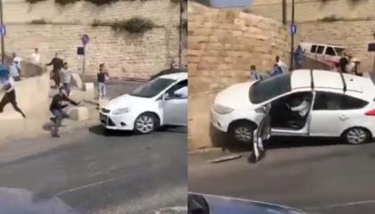 مستوطن إسرائيلي يدهس فلسطينيين عند المسجد الأقصى.. شاهد الفيديو