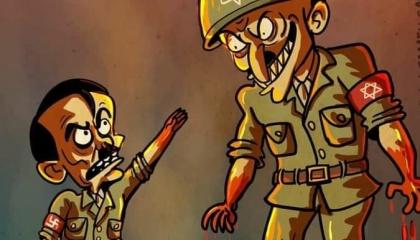 كاريكاتير: إسرائيل بؤرة المجازر تفوقت على هتلر