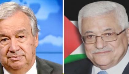 الرئيس الفلسطيني يبحث مع الأمين العام للأمم المتحدة وقف إطلاق النار في غزة