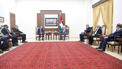 الرئيس الفلسطيني يستقبل الوفد المصري في رام الله