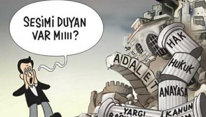 كاريكاتير: السلطات القضائية تحت قبضة أردوغان والمواطن لا يسمعه أحد!