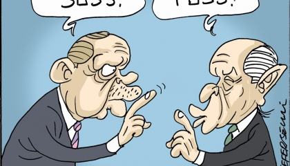 كاريكاتير: أردوغان وحليفه بهتشلي وجهان لعملة واحدة
