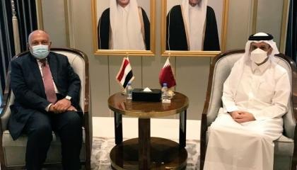 تفاصيل اجتماع وزير الخارجية المصري ونظيره القطري في الدوحة