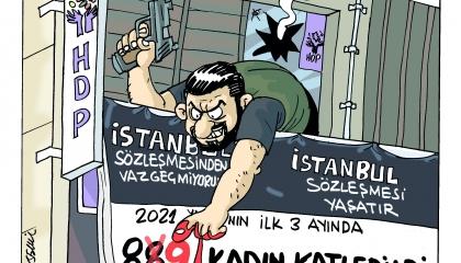 كاريكاتير: أردوغان الراعي الرسمي للعنف ضد المرأة في تركيا