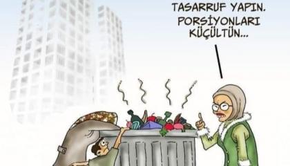 كاريكاتير: قرينة أردوغان تطالب «آكلي القمامة» بالتقشف!