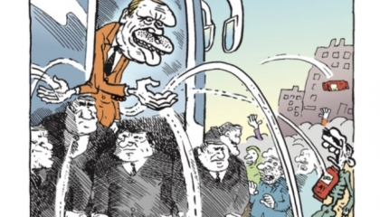 كاريكاتير: أردوغان يقضي على منكوبي الفيضانات بعبوات الشاي