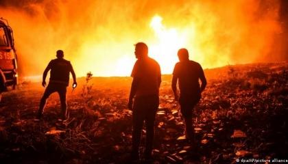 حريق هائل بمدينة أضنة وذعر لدى السكان بسبب الدخان الكثيف