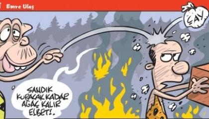 كاريكاتير حرائق الغابات.. أردوغان: سيبقى ما يكفي من أشجار لصناعة الصناديق!