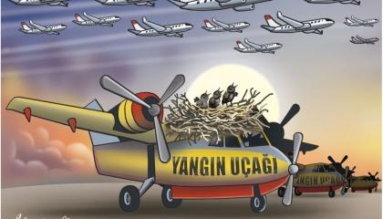 كاريكاتير: أردوغان حول طائرات الإطفاء التركية إلى عش للعصافير!