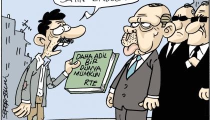 كاريكاتير.. مواطن تركي لأردوغان: دعك من العالم وحقق العدالة في تركيا أولًا