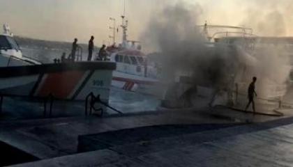 حريق مخيف في زورق بمدنية إسطنبول التركية