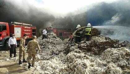اندلاع حريق هائل بأحد مصانع مدينة أديامان التركية