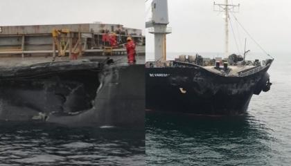 بالفيديو.. اصطدام سفينة تحمل قمحًا لمصر بأخرى في بحر مرمرة التركي