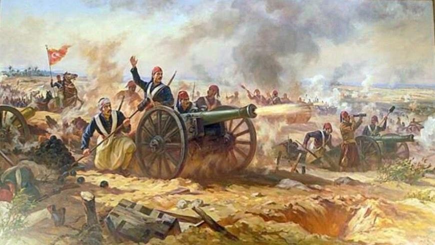 صورة متخيلة لأحد معارك الحرب المصرية - العثمانية