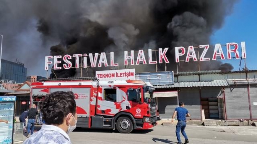 حريق هائل بمدينة انطاليا التركية