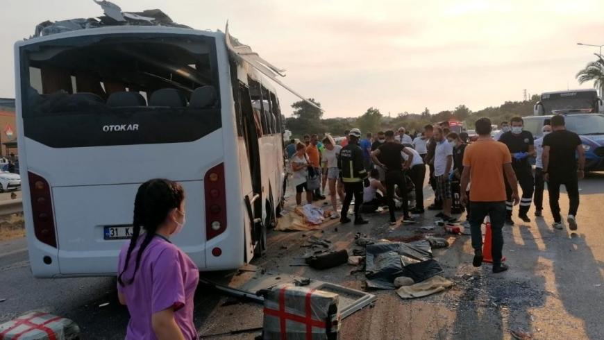 انقلاب حافلة سياحية بمانفاجات التركية